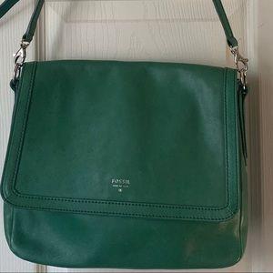 Fossil Sydney flap grn. leather shoulder bag FIRM$